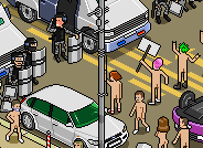 Naked nudists riot isometric pixel art