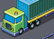 Port, trucks and vans isometric pixel art illustration commission
