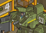 Mechwarrior walking war robot isometric pixel art
