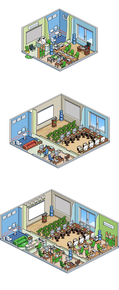 isometric pixel art illustration