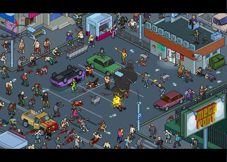 Zombies horde Walking dead Russia isometric pixel art