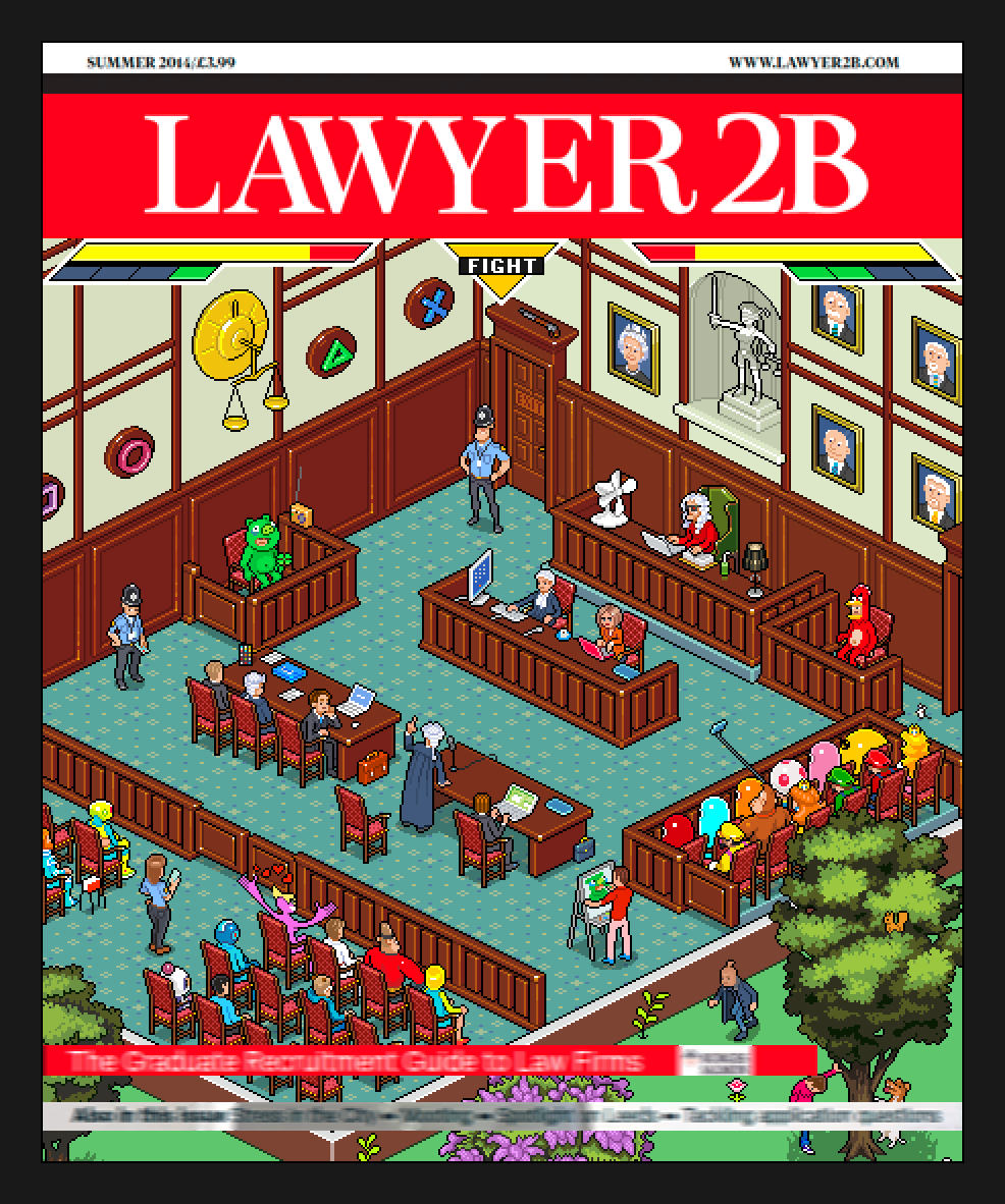 Lawyer2b pixel art magazine cover