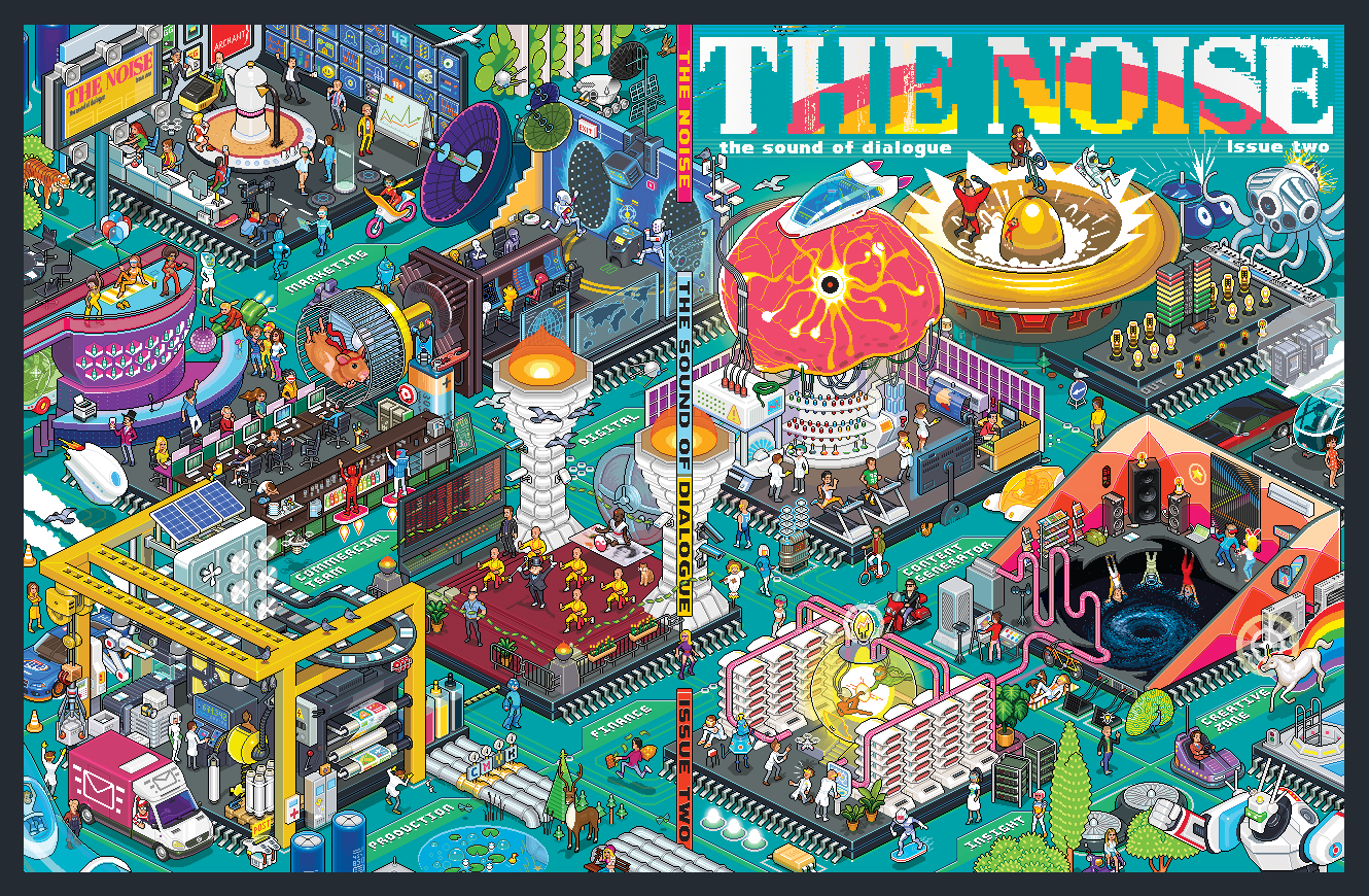 The Noise magazine cover pixel art illustration